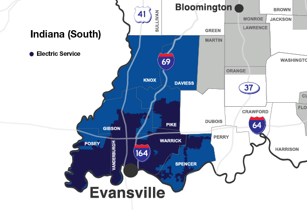 Vectren's South electric and natural gas service territory is shown on a map which includes the Indiana counties of Daviess, Knox, Gibson, Pike, Posey, Vanderburgh, Warrick and Spencer.
